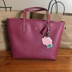COACH Leather Pink Rose Bag Charm